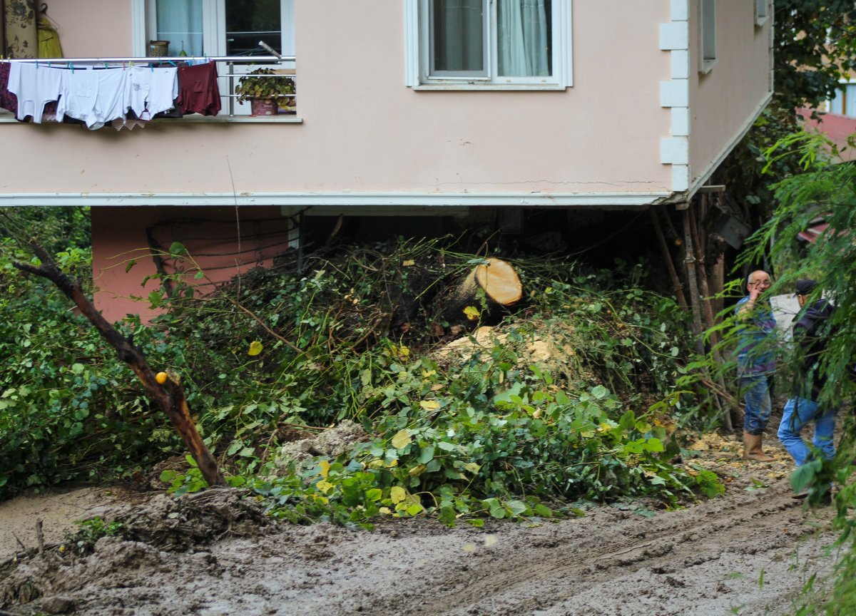Rize'de yaşanan heyelanda, oturma odasına toprak doldu #8
