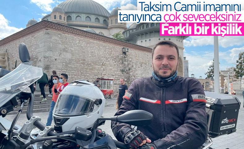 Taksim Camii'nin imamı motosikletiyle ilgi odağı oluyor
