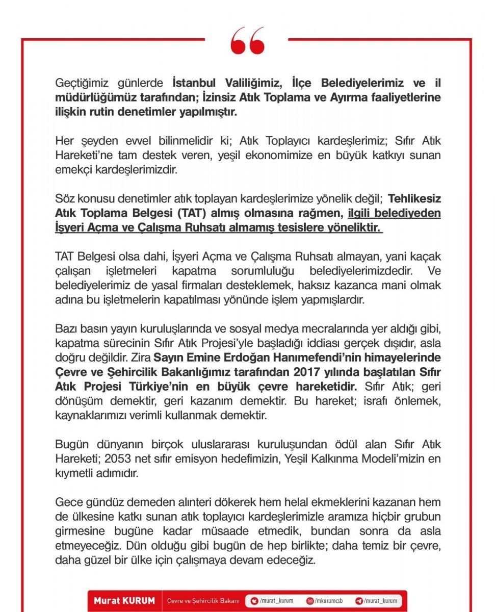 Murat Kurum: Denetimler atık toplayanlara değil tesislere yönelik #1