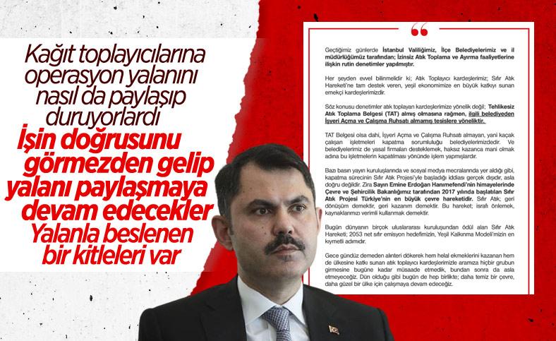 Murat Kurum: Denetimler atık toplayanlara değil tesislere yönelik