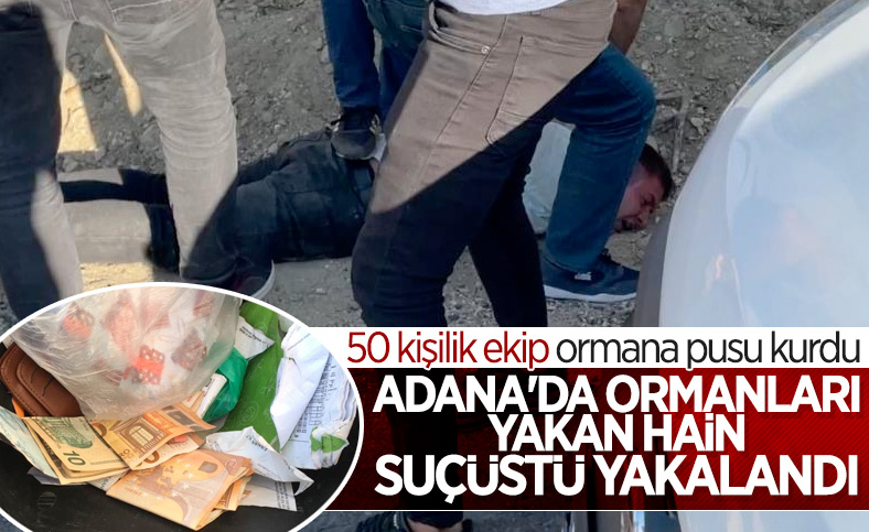 Adana'da şehitler ormanını yakan zanlı, yangın çıkartırken yakalandı