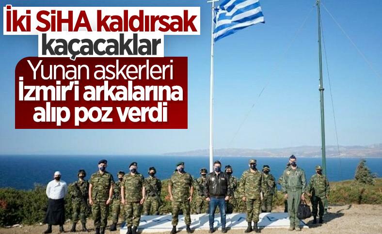 Yunan askerlerinin Koyun Adası'ndaki tatbikatı sonrası İzmir'li pozu