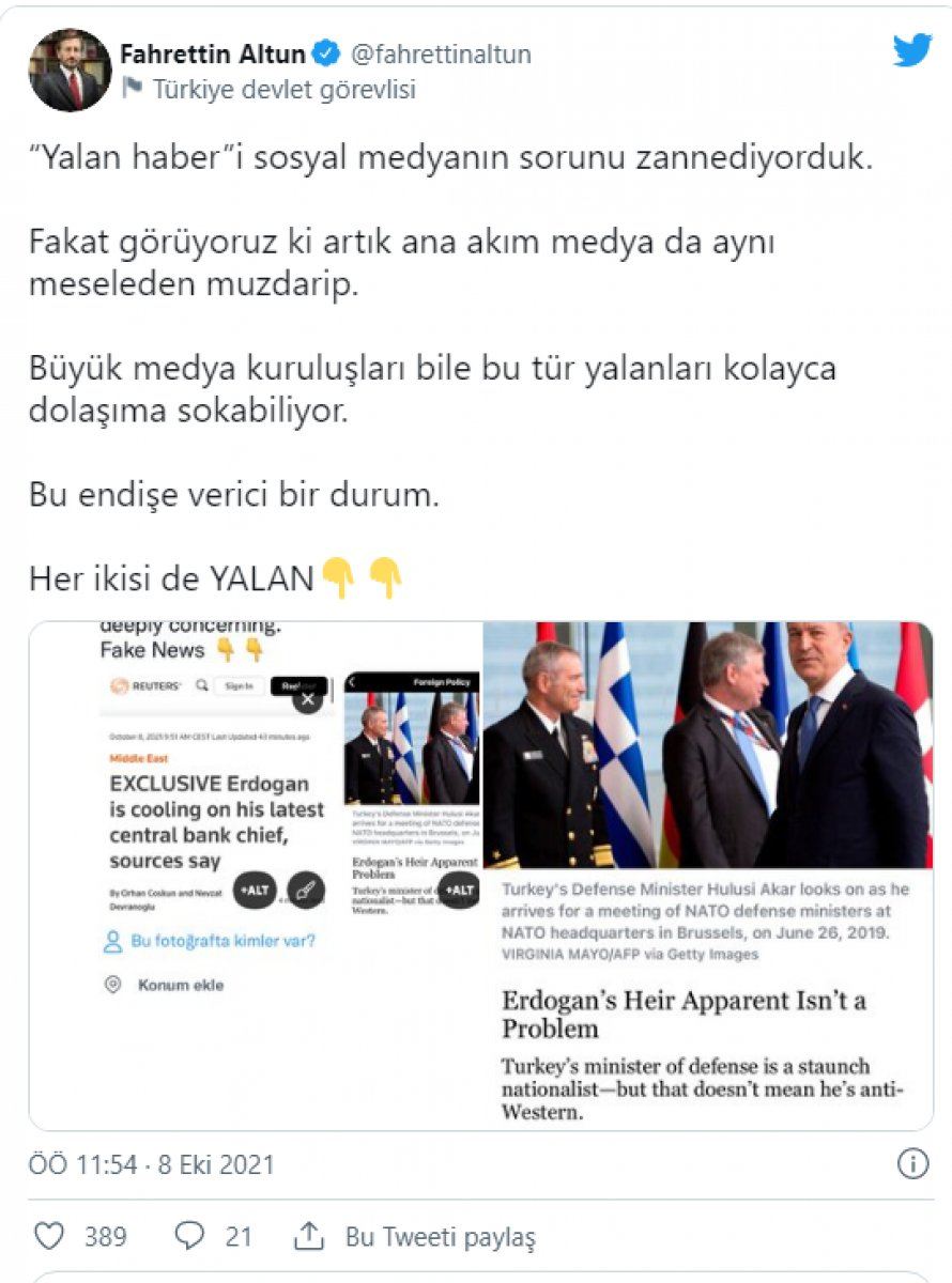 Fahrettin Altun, Reuters ve Foreign Policy yi yalanladı #1
