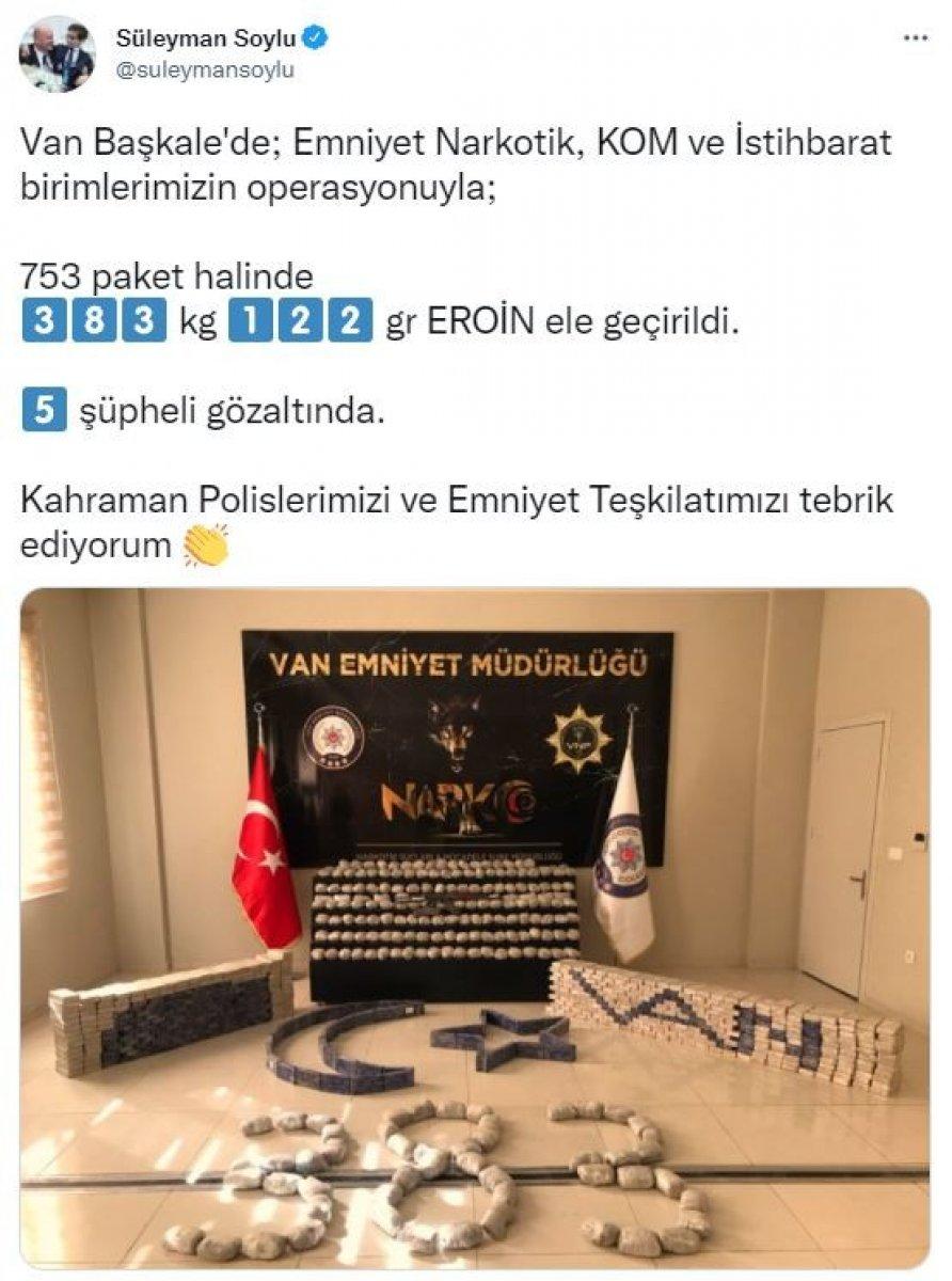 Süleyman Soylu: Van Başkale de 753 paket eroin ele geçirildi #2