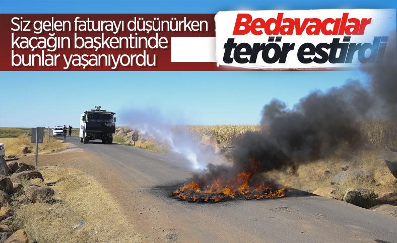 Şanlıurfa'da kaçak elektrik kullananlara yapılan denetimde lastik yakıldı