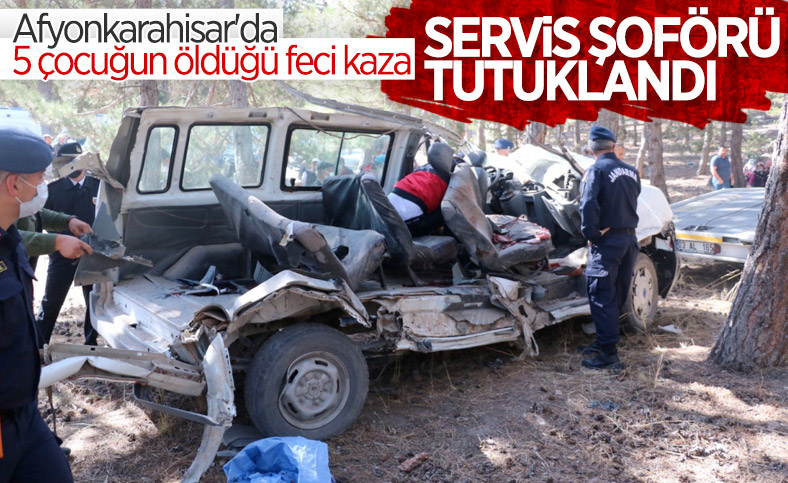 Afyonkarahisar'da kaza yapan servis şoförüne tutuklama