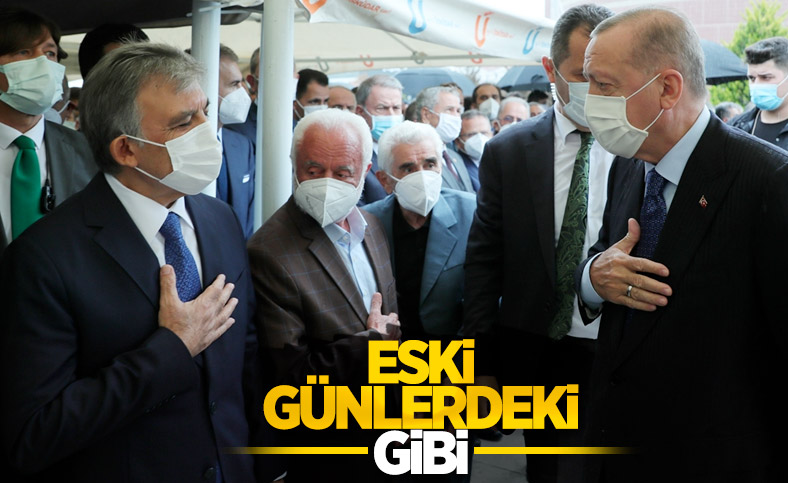 Cumhurbaşkanı Erdoğan, Abdullah Gül ile cenazede selamlaştı