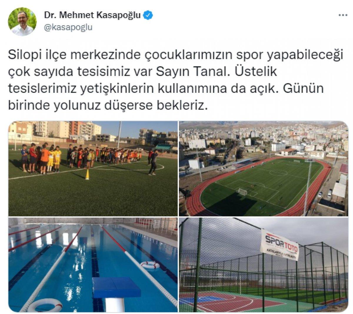 Bakan Mehmet Kasapoğlu ndan, Mahmut Tanal ın paylaşımına yanıt #2