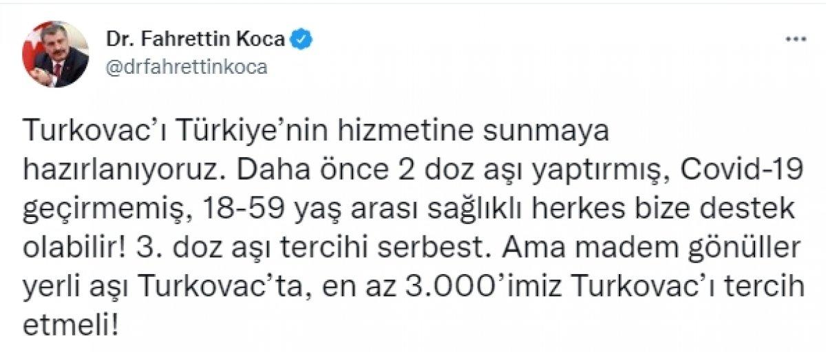 Sağlık Bakanı Fahrettin Koca dan Turkovac çağrısı #2