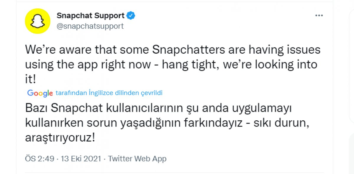 Snapchat çöktü mü, ne zaman düzelir? 13 Ekim Snapchat bağlantı hatası #1