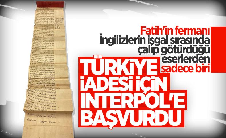 Türkiye, Fatih tuğralı 'vakfiye' için Interpol'e başvurdu