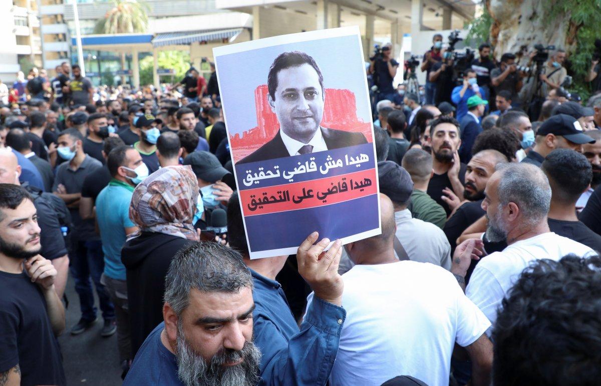 Beyrut taki patlama soruşturması protesto edilince sokaklar karıştı #5