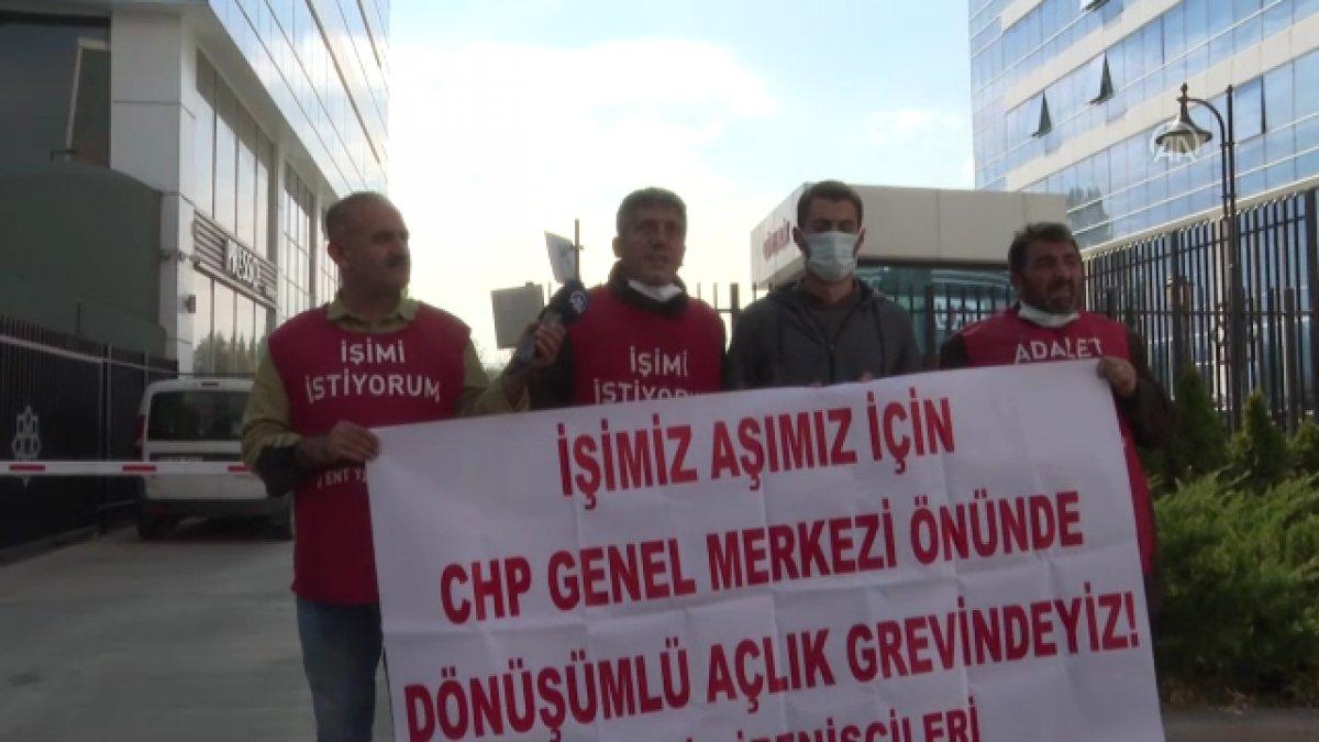 Şişli de belediyeden çıkarılan işçiler, CHP nin önünde açlık grevine girdi #3