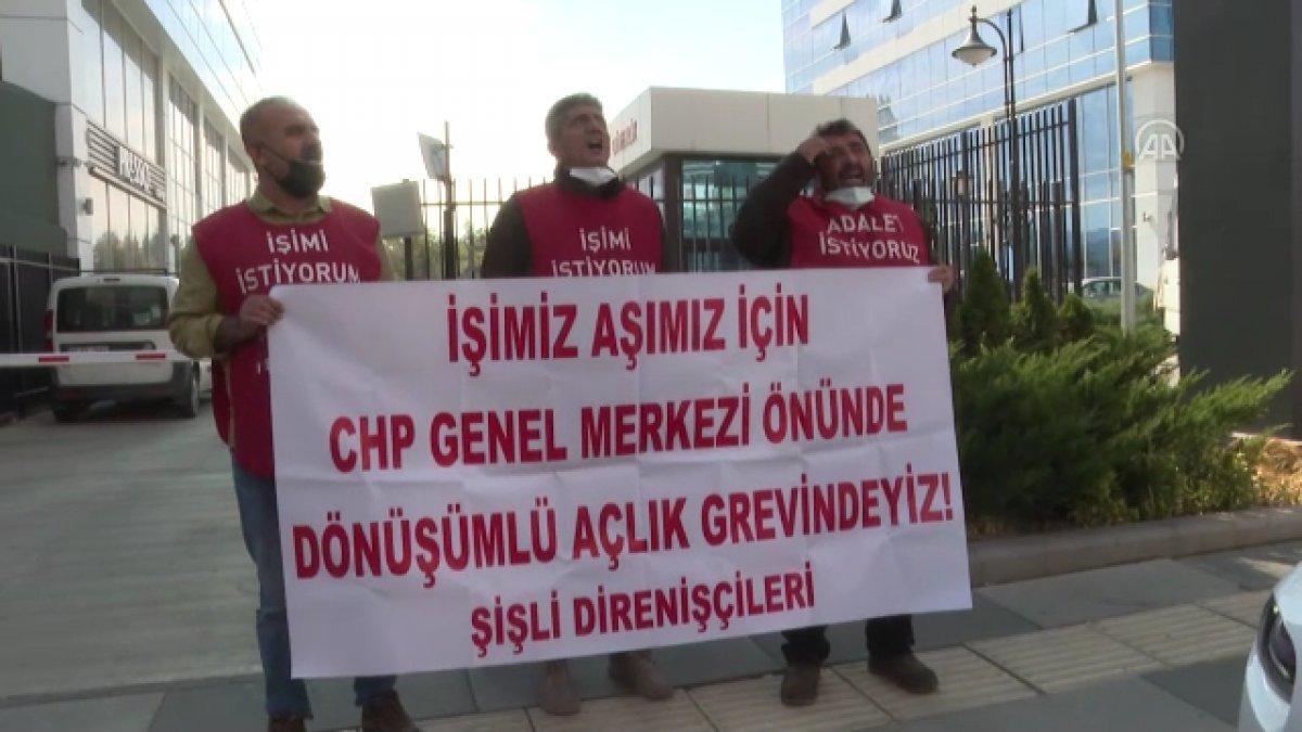 Şişli de belediyeden çıkarılan işçiler, CHP nin önünde açlık grevine girdi #6