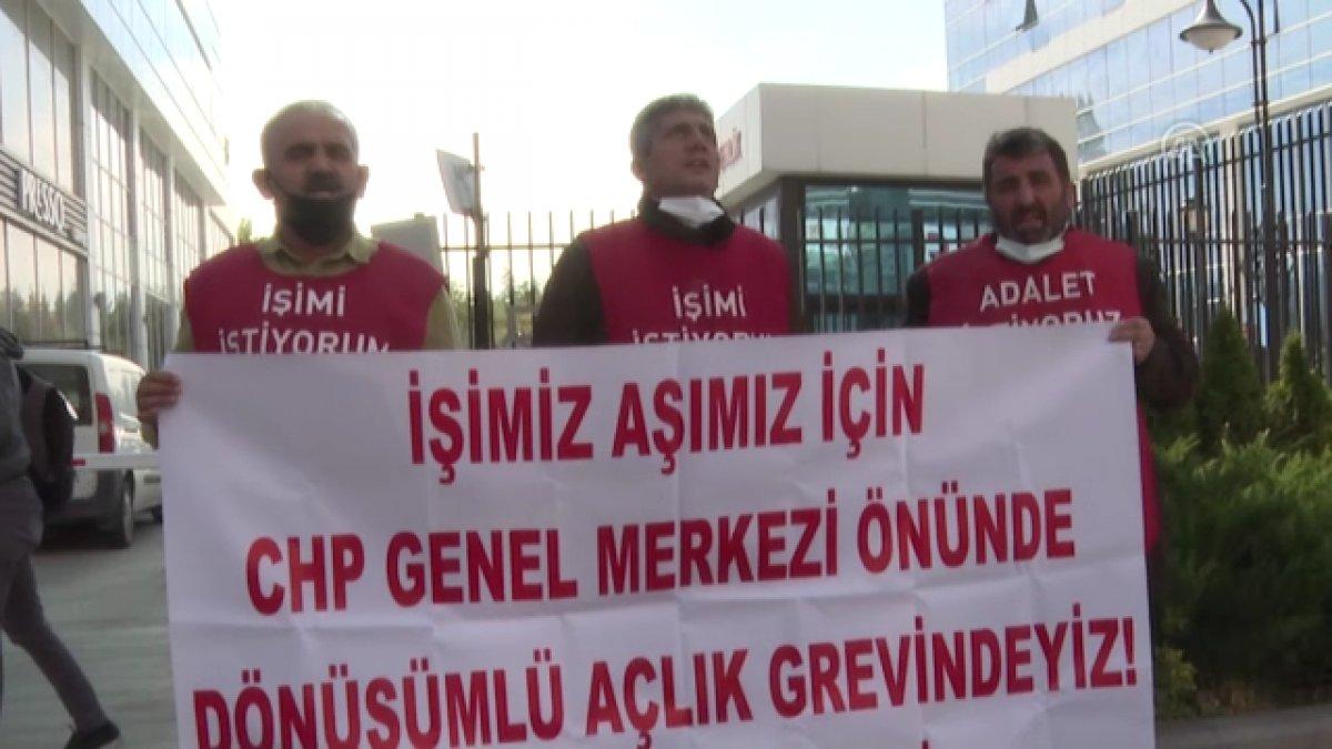 Şişli de belediyeden çıkarılan işçiler, CHP nin önünde açlık grevine girdi #5