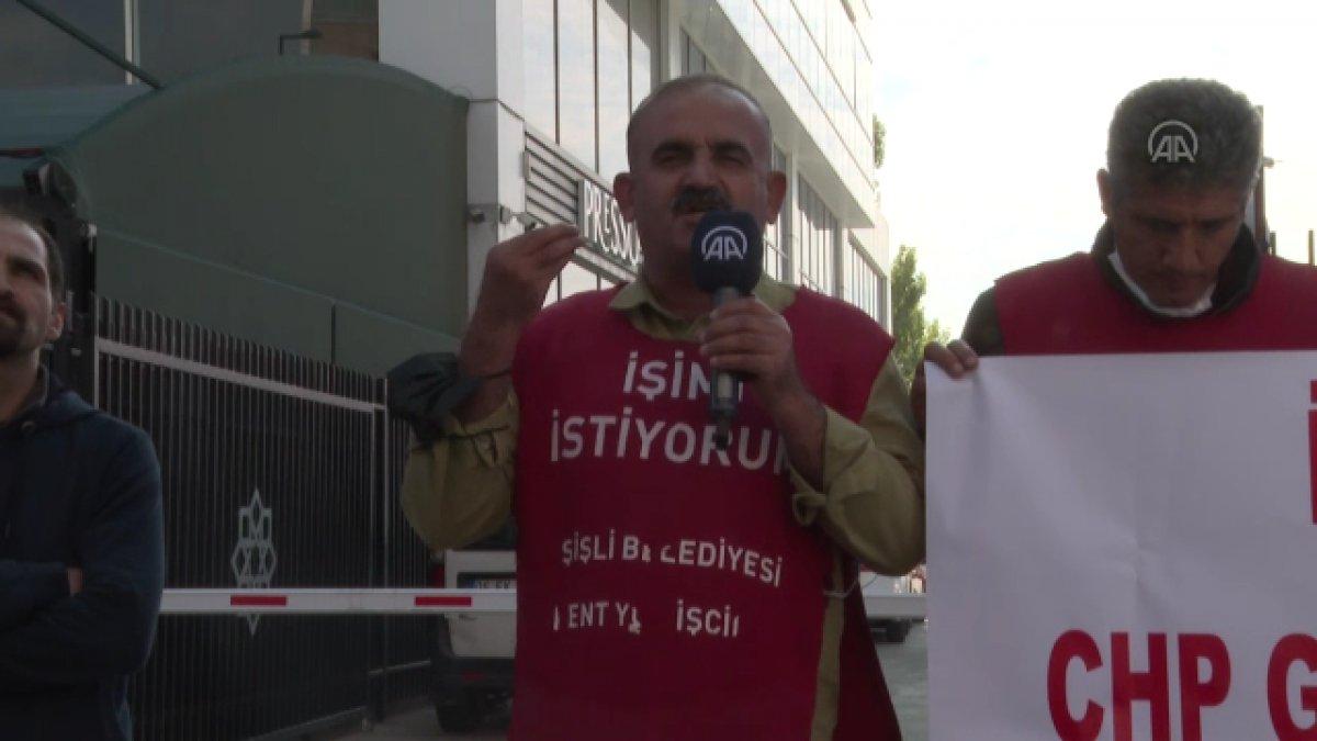 Şişli de belediyeden çıkarılan işçiler, CHP nin önünde açlık grevine girdi #2