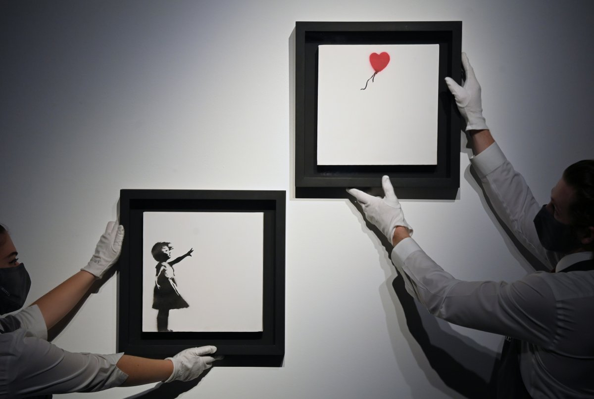 Banksy nin parçalanan eseri, 18.5 milyon sterline satıldı #1