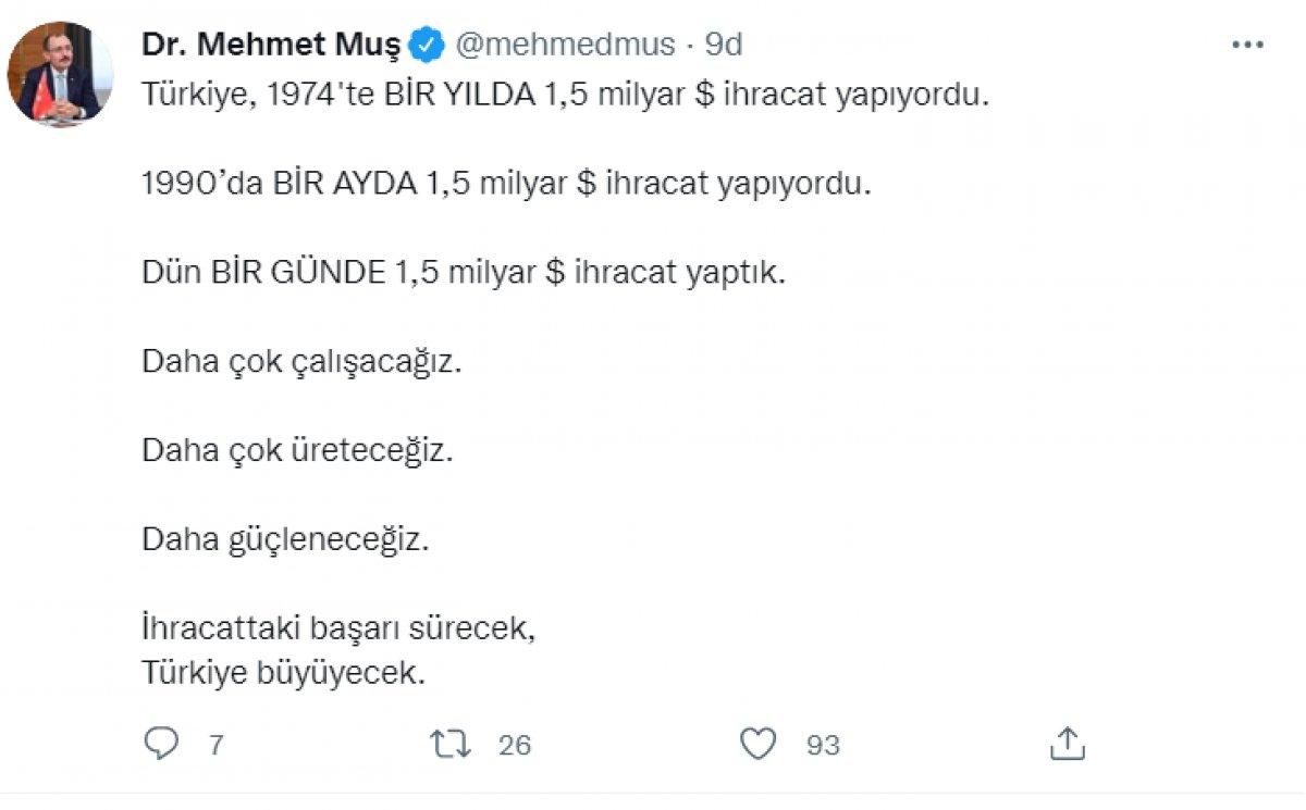 Mehmet Muş: İhracattaki başarı sürecek, Türkiye büyüyecek #1