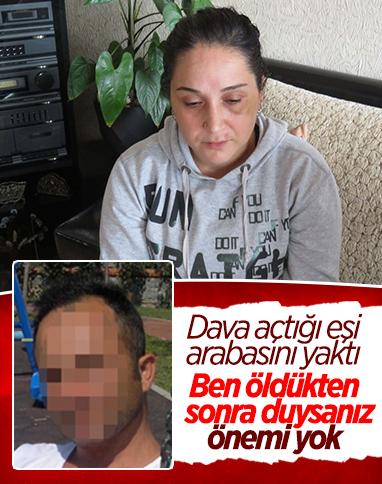 Üsküdar'da boşanma davası açılan şahıs, eşinin otomobilini yaktı