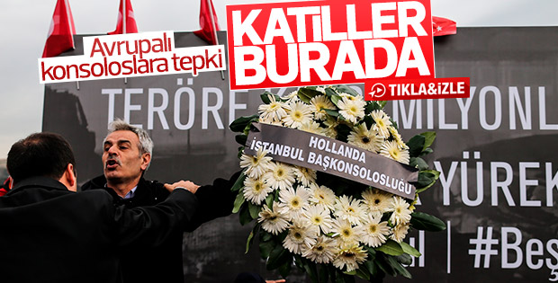 Beşiktaş'ta çelenk bırakan konsoloslara tepki