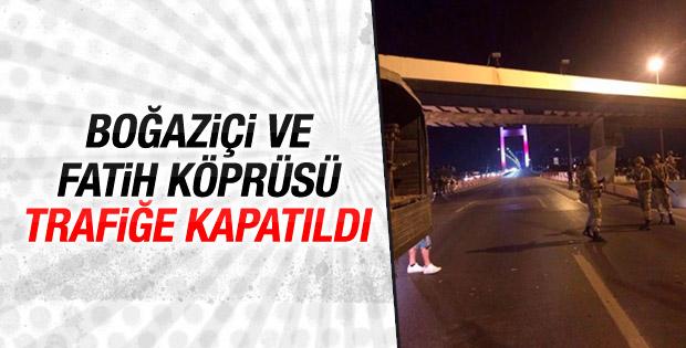 Boğaziçi ve FSM köprüleri trafiğe kapatıldı