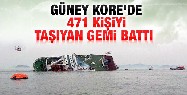 Güney Kore'de 471 kişi taşıyan gemi battı