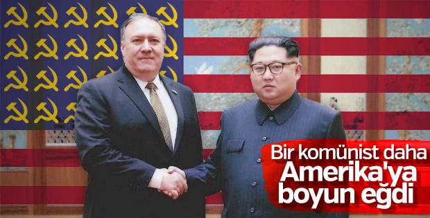 ABD Dışişleri Bakanı Pompeo, Kim ile tokalaştı