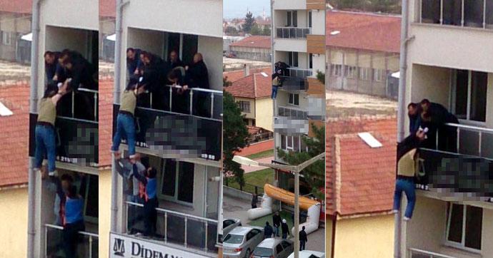 Bolu'da bir astsubay avukatlık bürosundan atlamaya kalktı