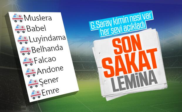 Galatasaray'da sakat futbolcu sayısı 9'a çıktı
