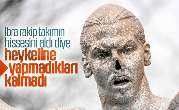 Zlatan Ibrahimovic'in heykelinin burnunu kırdılar
