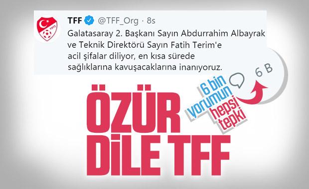 TFF'nin geçmiş olsun mesajına büyük tepki
