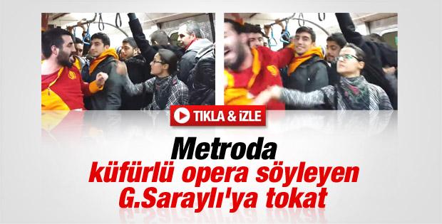 Küfürlü opera söyleyen Galatasaraylı taraftara tokat