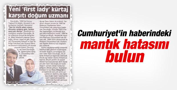 Cumhuriyet Sare Davutoğlu'nun kürtaj karşıtlığına hayret etti