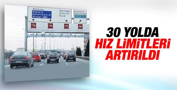 İstanbul'da 30 yolda hız limiti değişti
