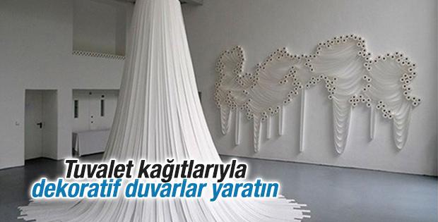 Tuvalet kağıtlarıyla dekoratif duvarlar yaratın