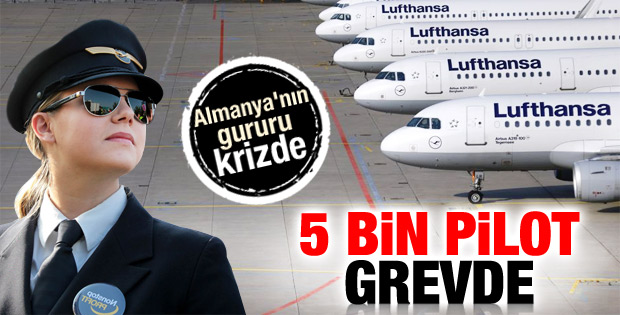 Lufthansa pilotlarından bir günlük grev