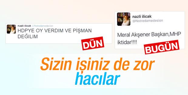 Nazlı Ilıcak HDP-MHP arasında sıkıştı