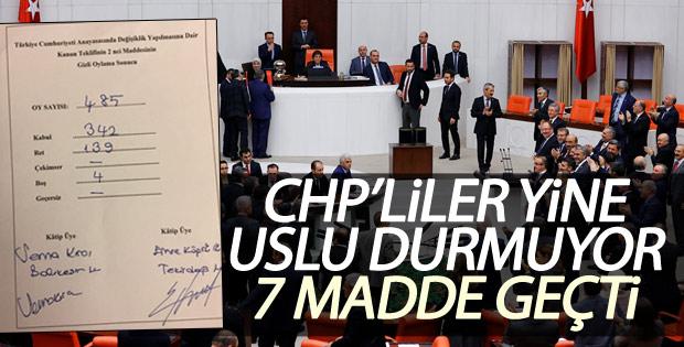 Anayasa değişiklik teklifinde 7 madde kabul edildi