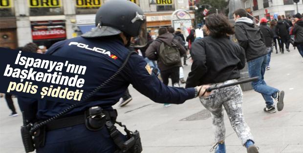 Madrid'de öğrenci eylemine polis müdahalesi