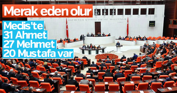 Yeni Meclis'te 'Ahmet' ve 'Mehmet'ler çoğunlukta