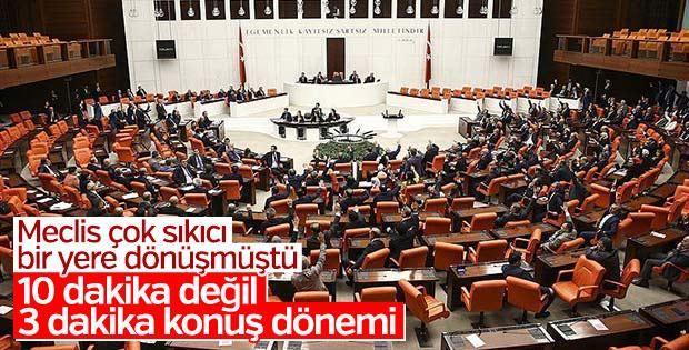 Meclis'te vekiller artık daha kısa konuşacak