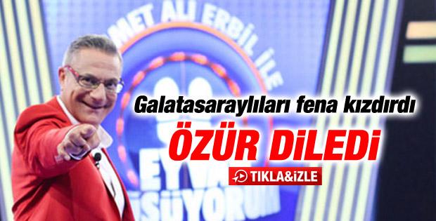 Galatasaraylılar'ı kızdıran Mehmet Ali Erbil özür diledi