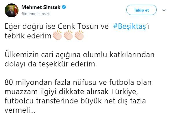 Mehmet Şimşek: Cenk ve Beşiktaş'ı tebrik ederim