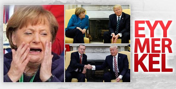 Trump Merkel'le tokalaşmadı, Erdoğan'la samimi pozlar verdi