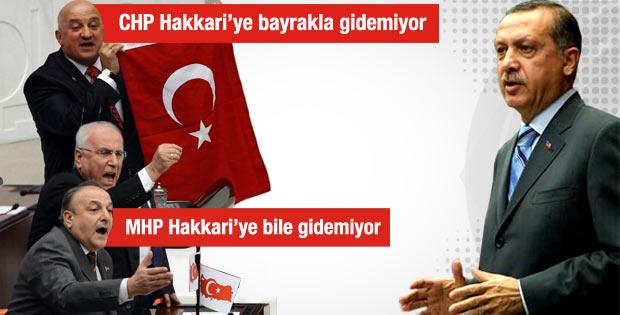Erdoğan'dan CHP MHP ve BDP'ye bayrak tepkisi