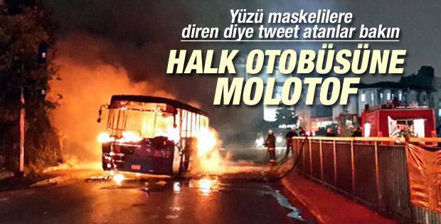 Okmeydanı'nda halk otobüsüne molotof attılar