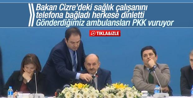 Sağlık Bakanı basın toplantısında Cizre'ye bağlandı