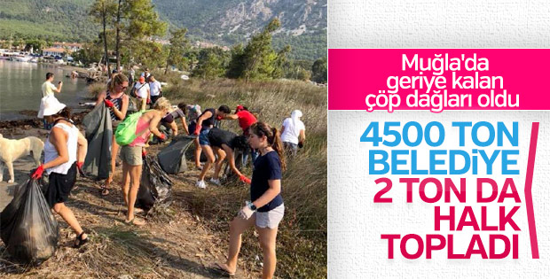 Muğla'da tatilcilerin çöpleri toplanmaya devam ediyor
