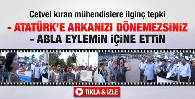 Cetvel kıran mühendislere Atatürk ve bayraklı tepki