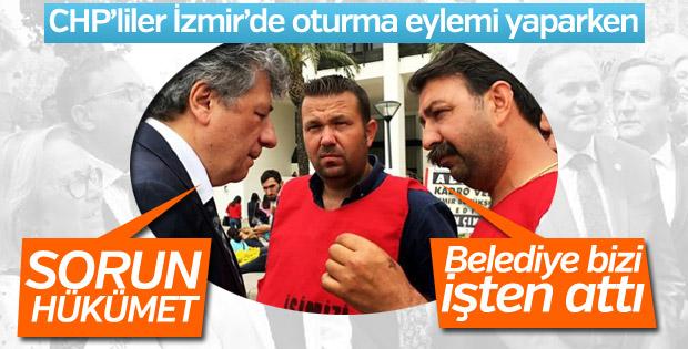 İzmir'de eylem yapan CHP'liler, atılan işçileri görmedi